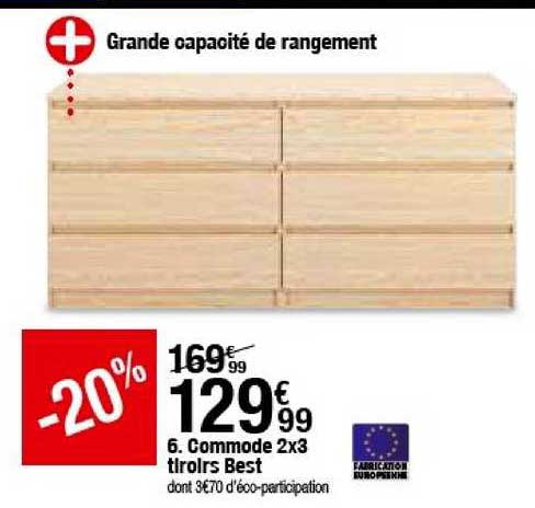 offre commode 2x3 tiroirs best chez but