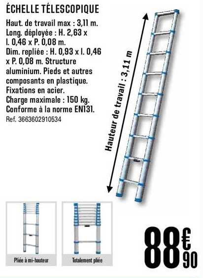 Offre Echelle Telescopique Chez Brico Depot