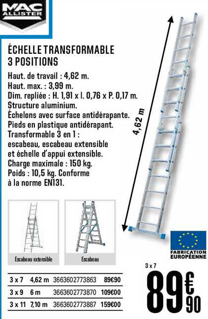 Offre Echelle Transformable 3 Positions Mac Allister Chez Brico Depot