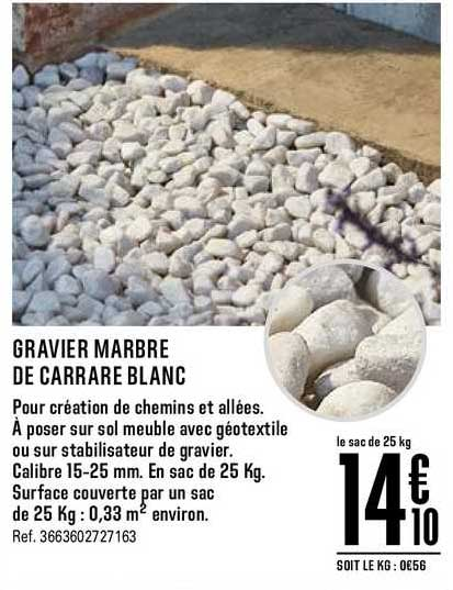 Offre Gravier Marbre De Carrare Blanc Chez Brico Depot