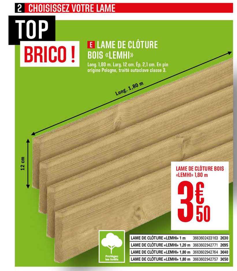 Offre Lame De Cloture Bois Lemhi Chez Brico Depot