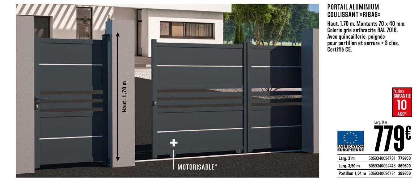 Offre Portail Aluminium Coulissant Ribas Chez Brico Depot