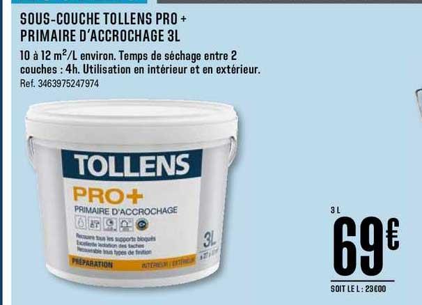Offre Sous Couche Tollens Pro Primaire D Accrochage 3l Chez Brico Depot