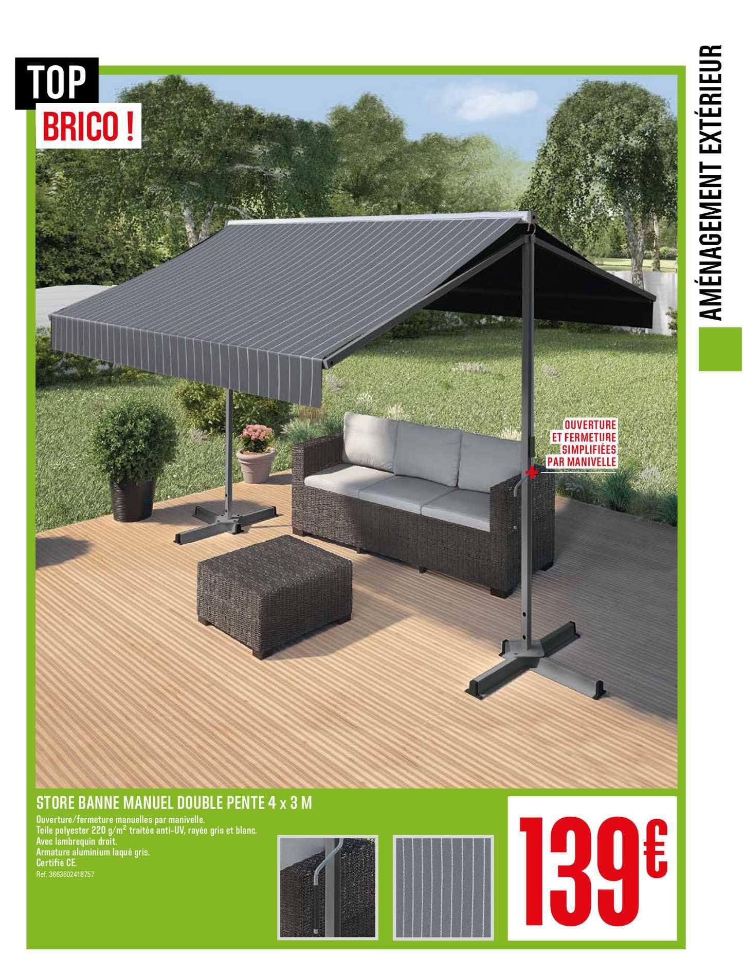 Offre Store Banne Manuel Double Pente 4 X 8 M Chez Brico Depot
