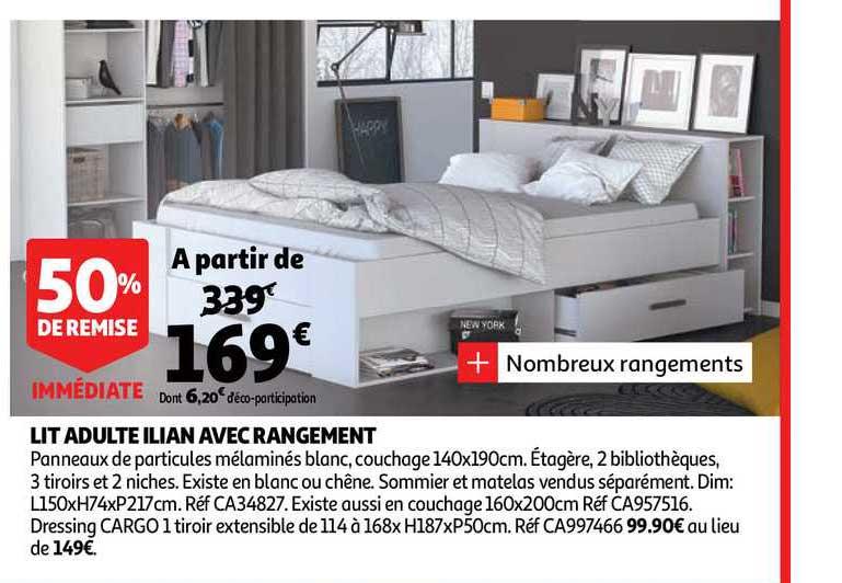 Offre Lit Adulte Ilian Avec Rangement 50 De Remise Immediate Chez Auchan Direct