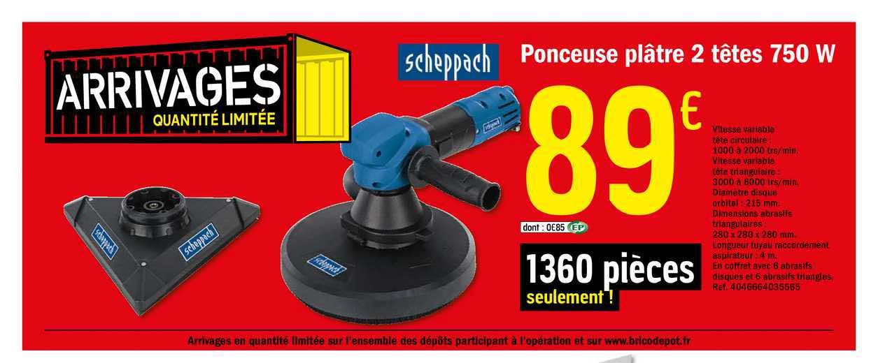 Offre Ponceuse Platre 2 Tetes 750 W Chez Brico Depot