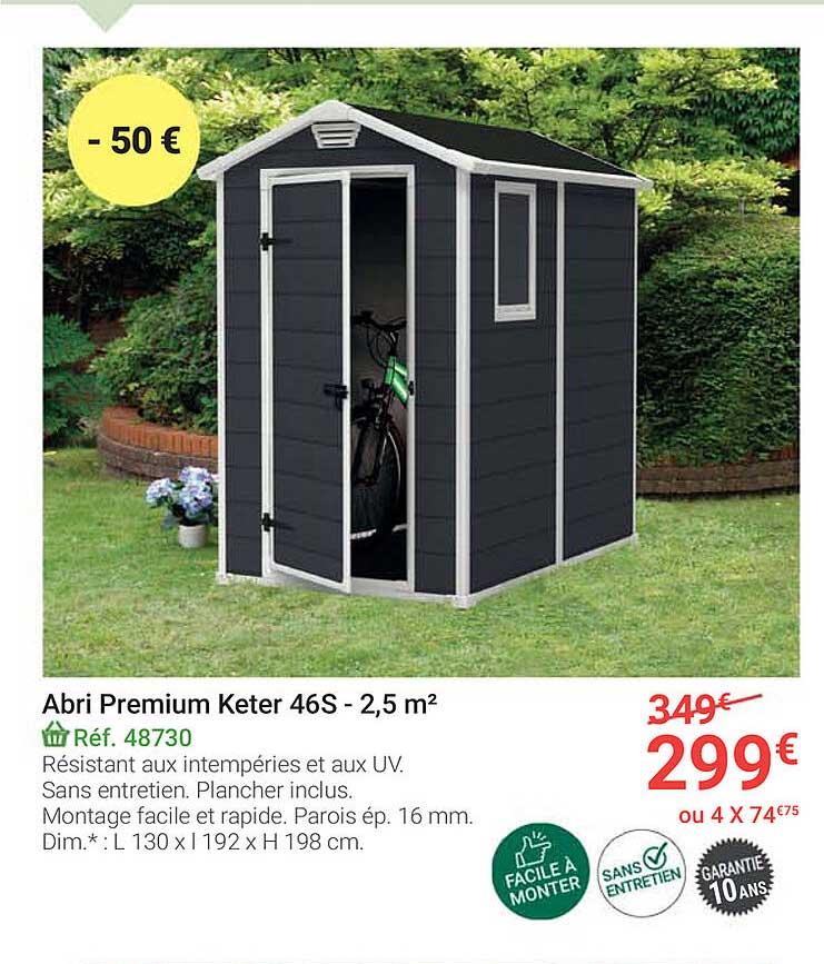 offre abri premium keter 46s 2 5 m2