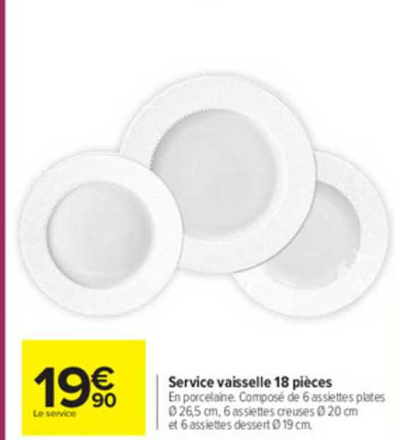 service vaisselle 18 pieces chez carrefour