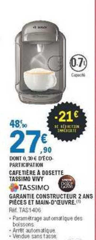 Offre Cafetiere A Dosette Tassimo Vivy Chez E Leclerc