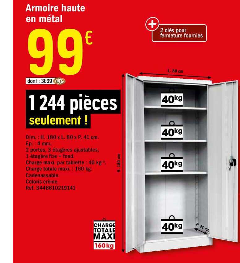 Offre Armoire Haute En Metal Chez Brico Depot