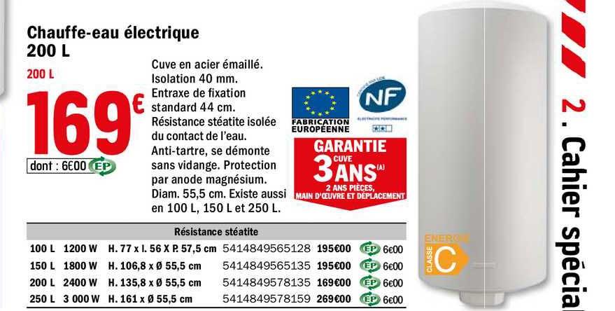 Offre Chauffe Eau Electrique 200 L Chez Brico Depot