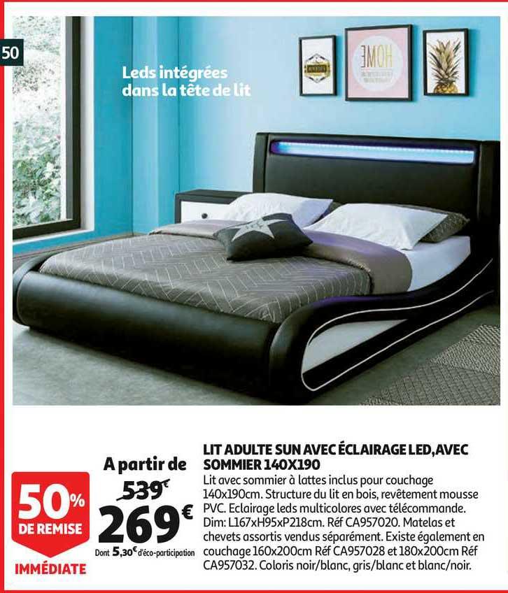Offre Lit Adulte Sun Avec Eclairage Led Avec Sommier 140x190 50 De Remise Immediate Chez Auchan