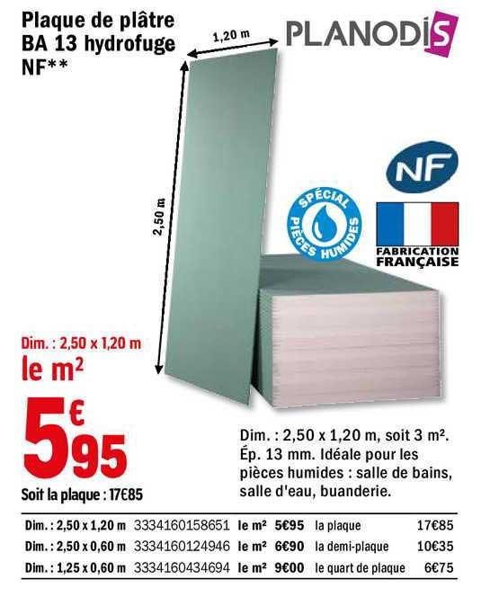 Offre Plaque De Platre B 13 Hydrofuge Nf Planodis Chez Brico Depot