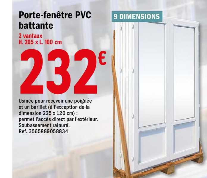 Offre Porte Fenetre Pvc Battante Chez Brico Depot
