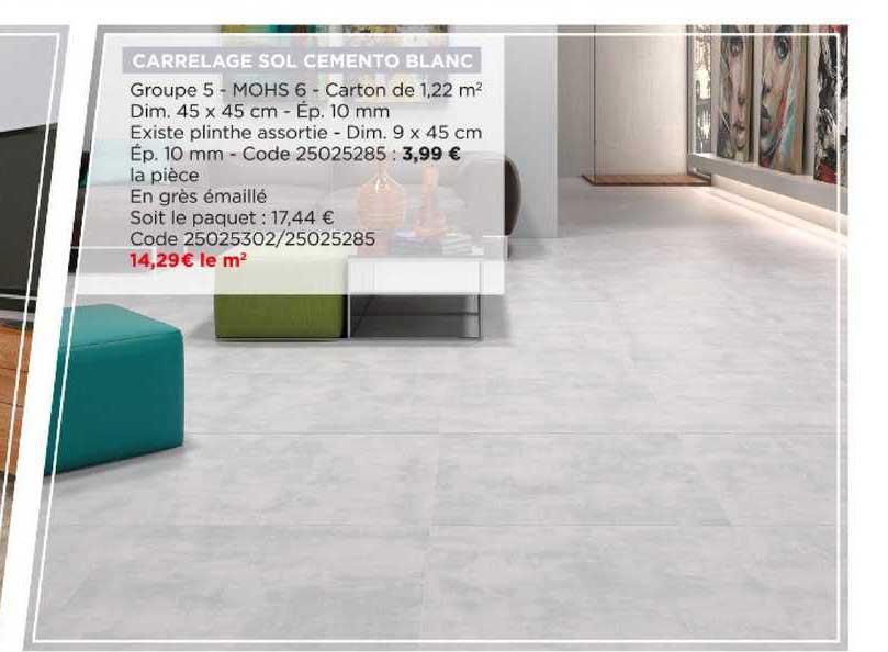 offre carrelage sol cemento blanc chez