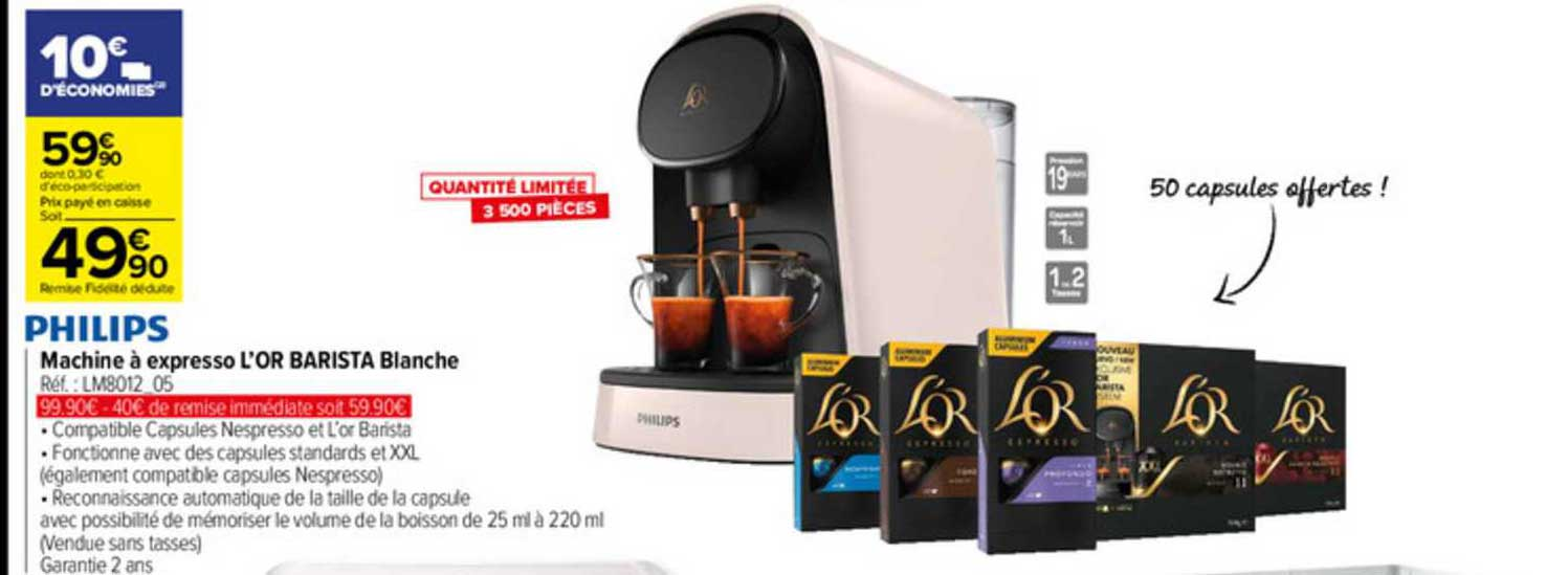 or barista blanche philips chez carrefour