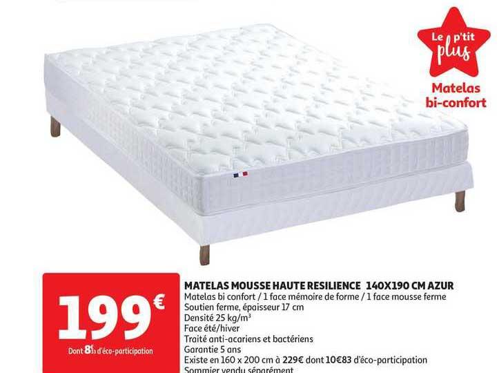 Offre Matelas Mousse Haute Resilience 140 X 190 Cm Azur Chez Auchan Direct