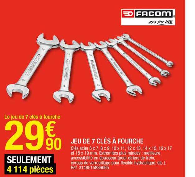 Offre Jeu De 7 Cles A Fourche Facom Chez Brico Depot