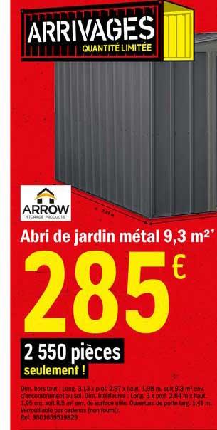 Offre Abri De Jardin Metal 9 3 M2 Chez Brico Depot