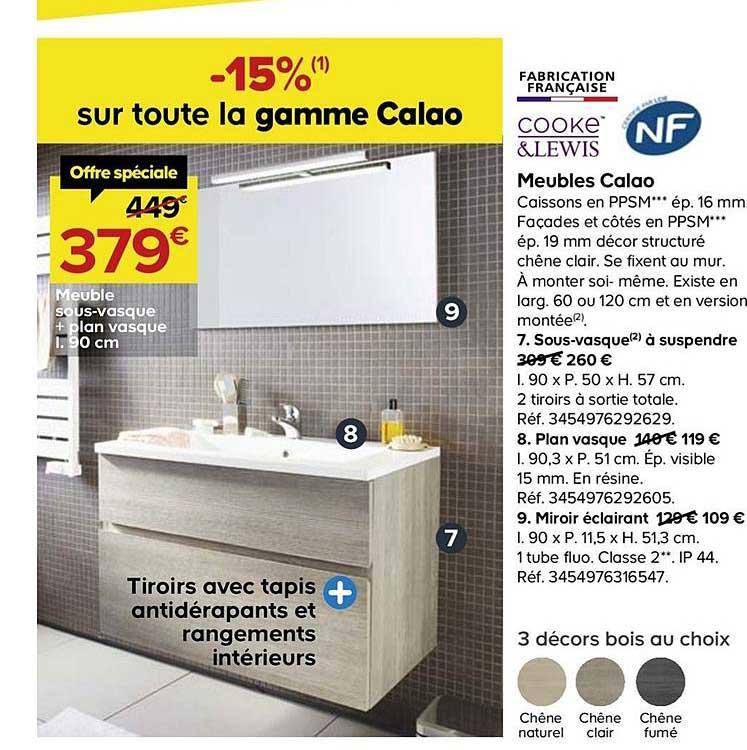 Offre Meubles Calao Sous Vasque Plan Vasque 90 Cm Cooke Lewis Chez Castorama