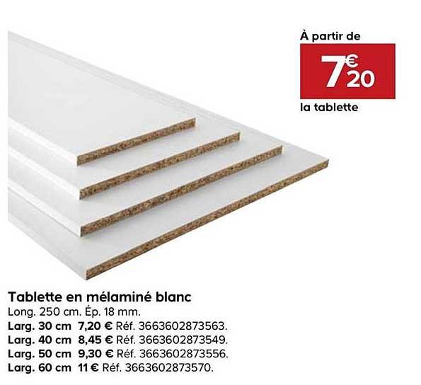 Offre Tablette En Melamine Blanc Chez Castorama