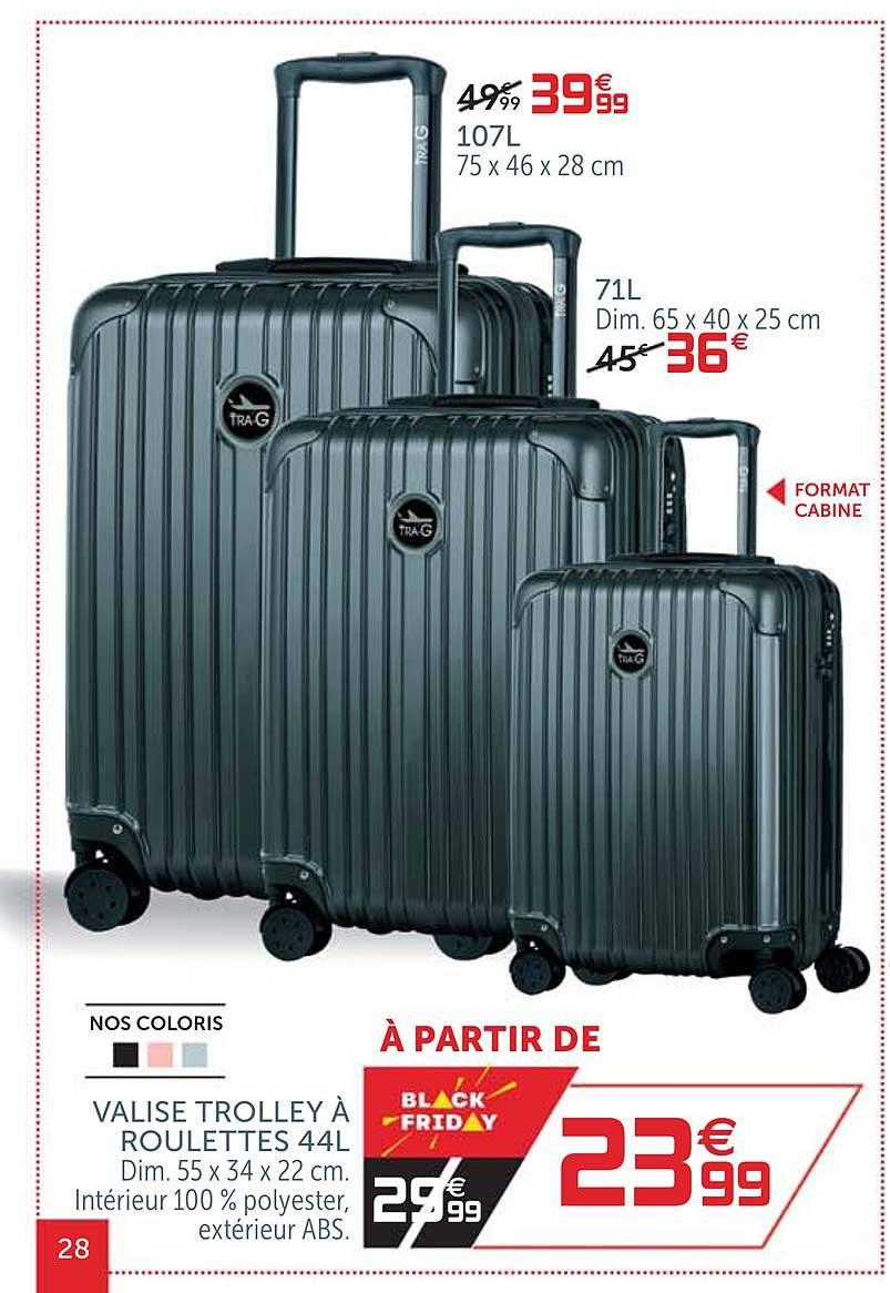 Offre Valise Trolley A Roulettes 44l Chez Gifi