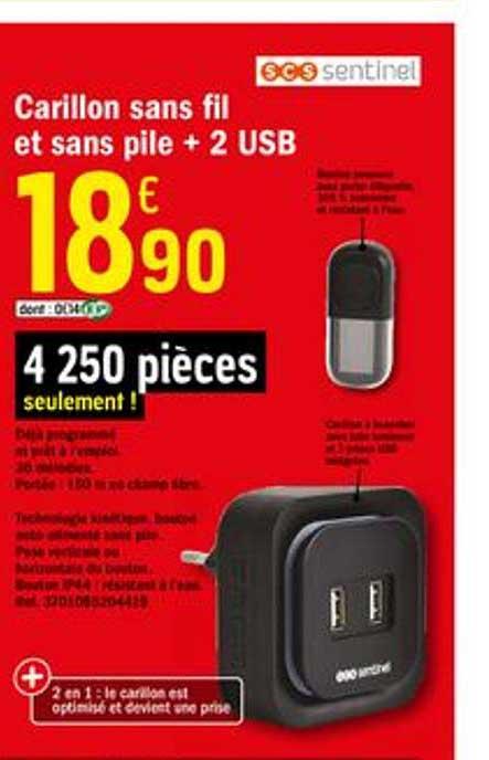 Offre Carillon Sans Fil Et Sans Pile 2 Usb Chez Brico Depot