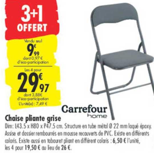offre chaise pliante grise carrefour
