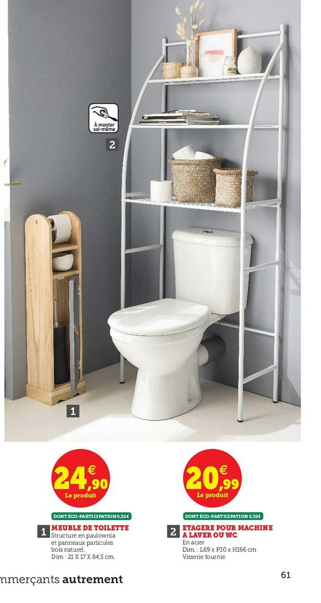 Offre Meuble De Toilette Etagere Pour Machine A Laver Ou Wc Chez Hyper U