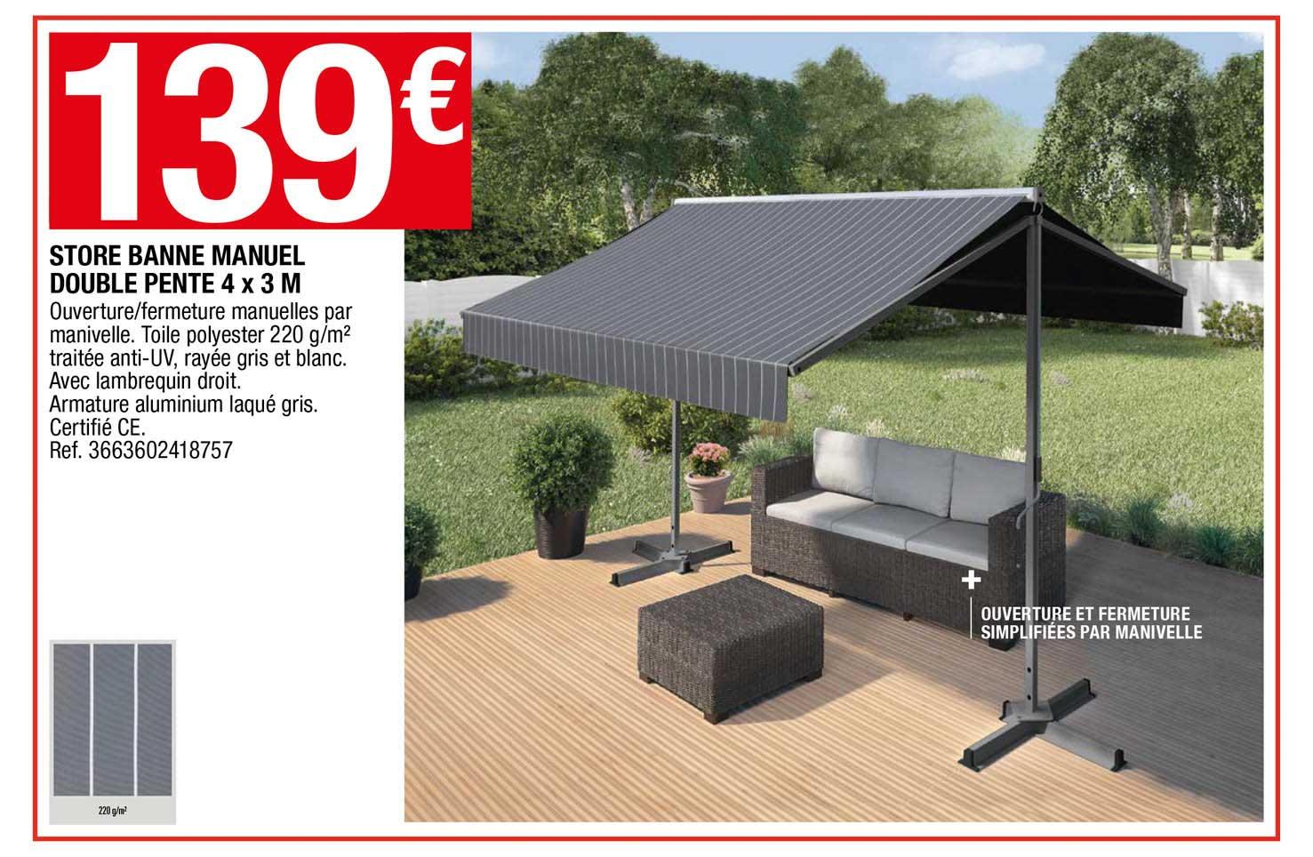 Offre Store Banne Manuel Double Pente 4 X 3 M Chez Brico Depot