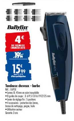 Offre Tondeuse Cheveux Barbe Babyliss Chez Carrefour