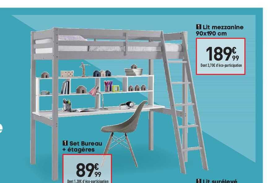 offre lit mezzanine set bureau