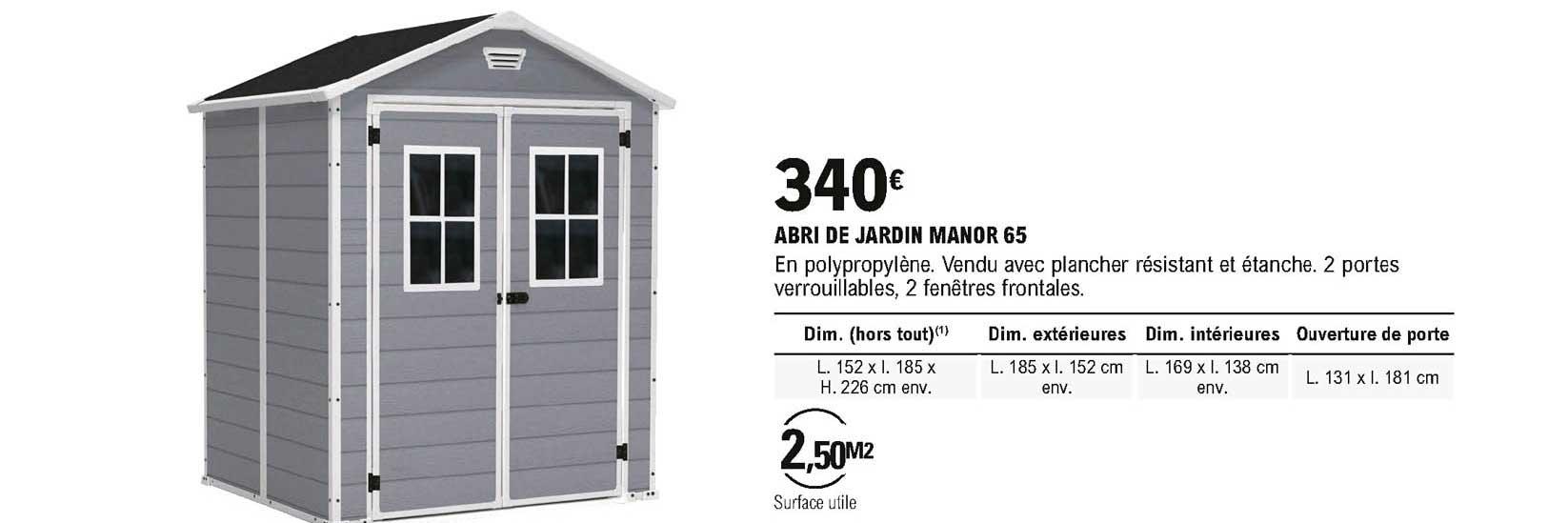 Offre Abri De Jardin Manor 65 Chez Eleclerc Brico