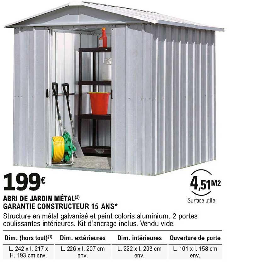 Offre Abri De Jardin Metal Chez Eleclerc Brico