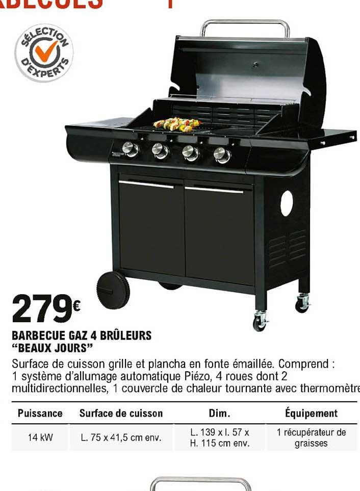 offre barbecue gaz 4 bruleurs beaux