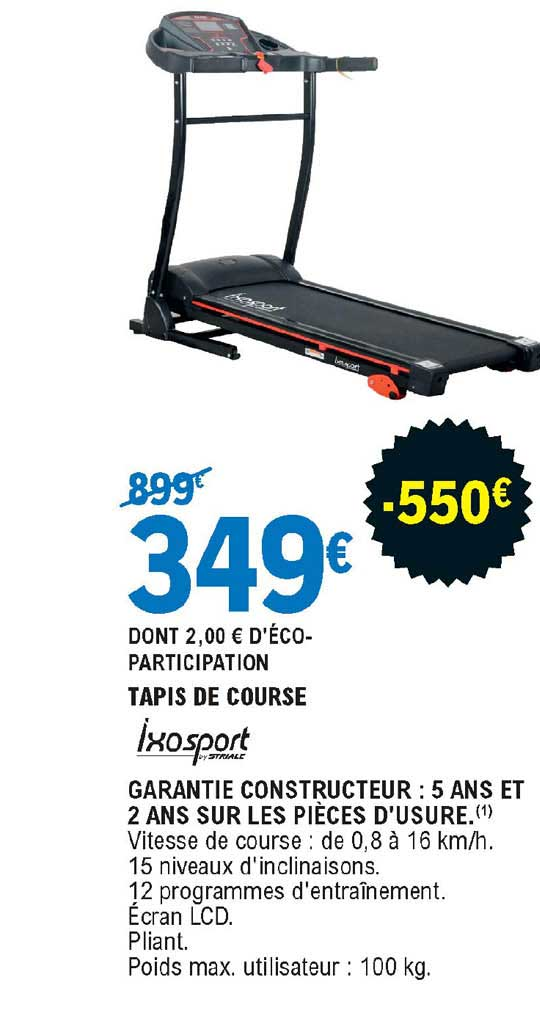 offre tapis de course ixosport chez e