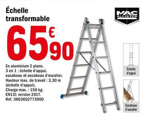 Offre Echelle Transformable Mac Allister Chez Brico Depot