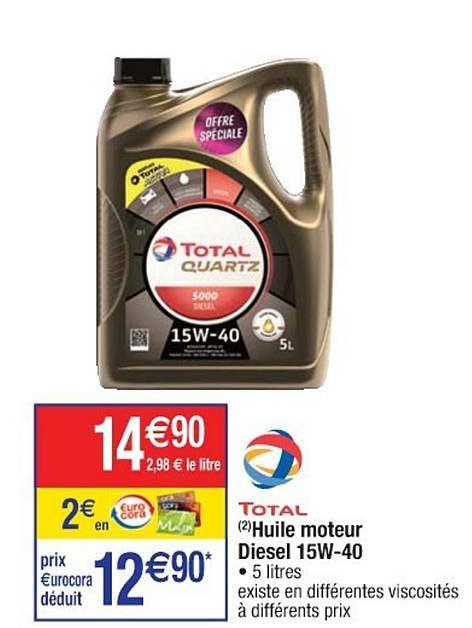 Offre Huile Moteur Diesel 15w 40 Total Chez Cora