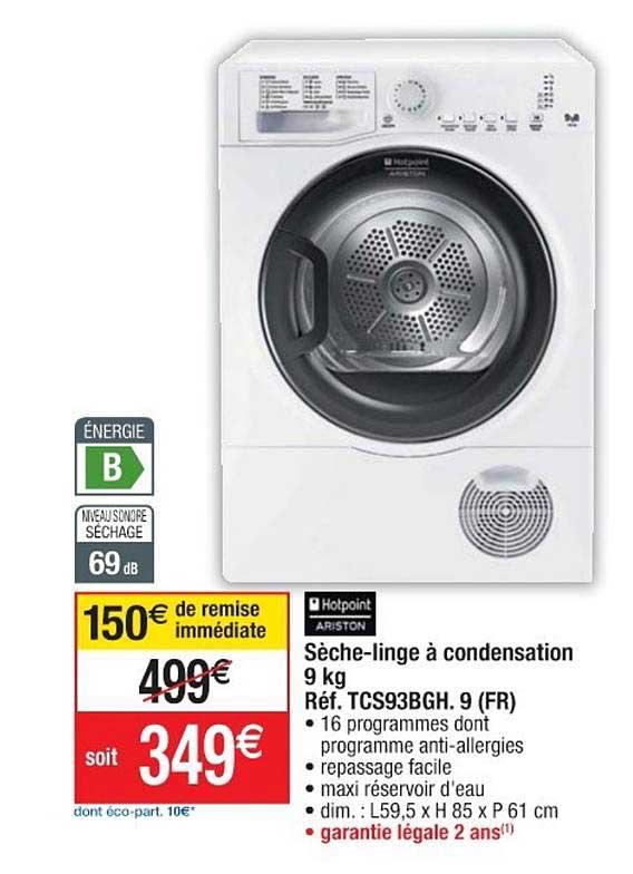 Offre Seche Linge A Condensation 9 Kg Ref Tcs93bgh Fr Hotpoint Ariston Chez Cora