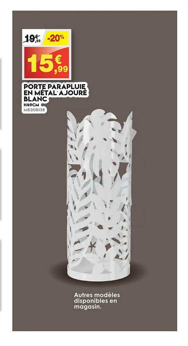 Offre Porte Parapluie En Metal Ajoure Blanc Chez Maxi Bazar