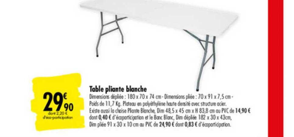 table pliante blanche chez carrefour market