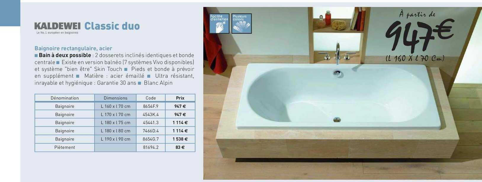 offre baignoire rectangulaire acier