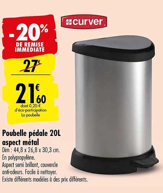 Offre Poubelle Pedale 20l Aspect Metal Curver 20 De Remise Immediate Chez Carrefour