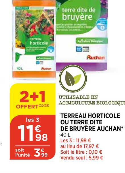 Offre Terreau Horticole Ou Terre Dite De Bruyere Auchan Chez Bi1