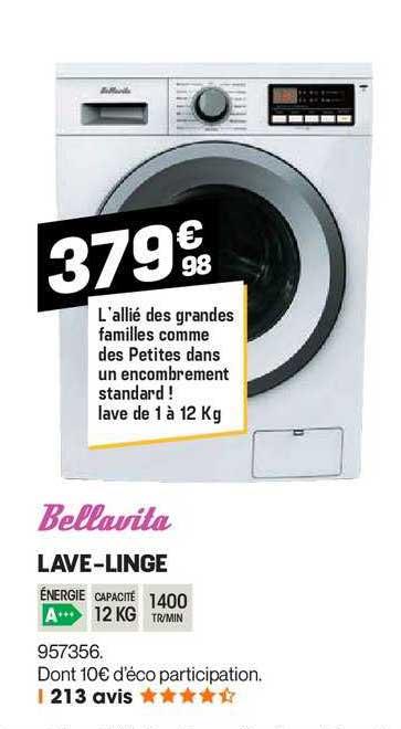 offre lave linge bellavita chez electro