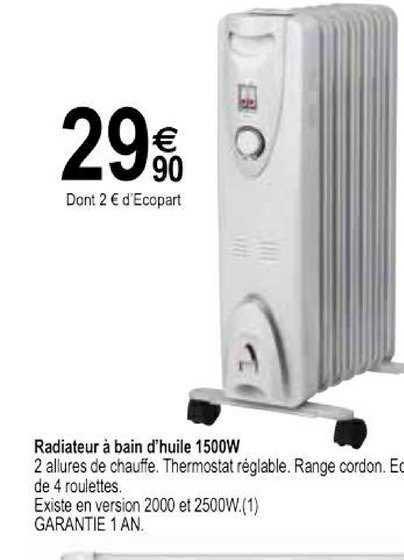 Offre Radiateur A Bain D Huile 1500w Chez Tridome