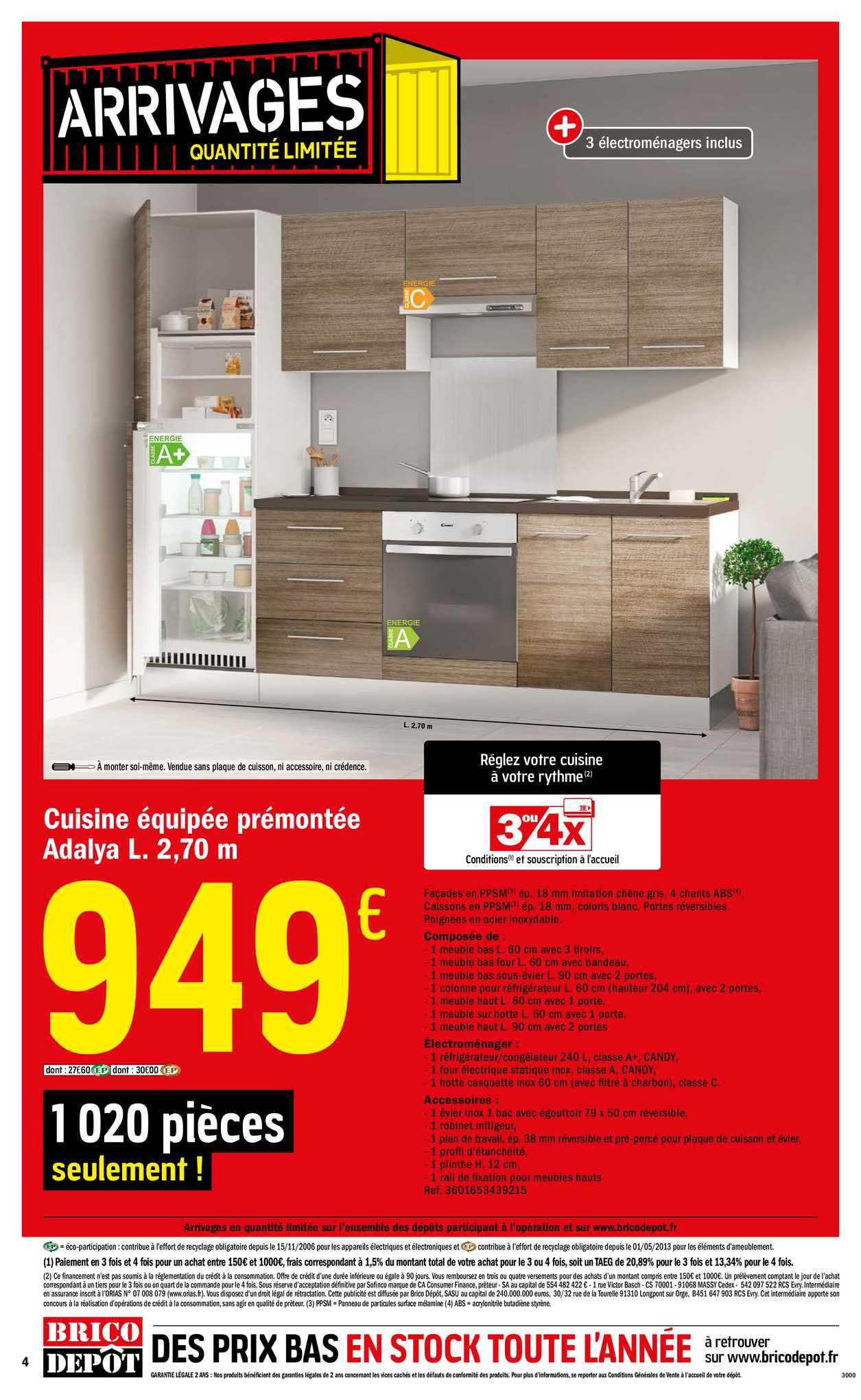 Offre Cuisine Equipee Premontee Adalya L 2 70m Chez Brico Depot