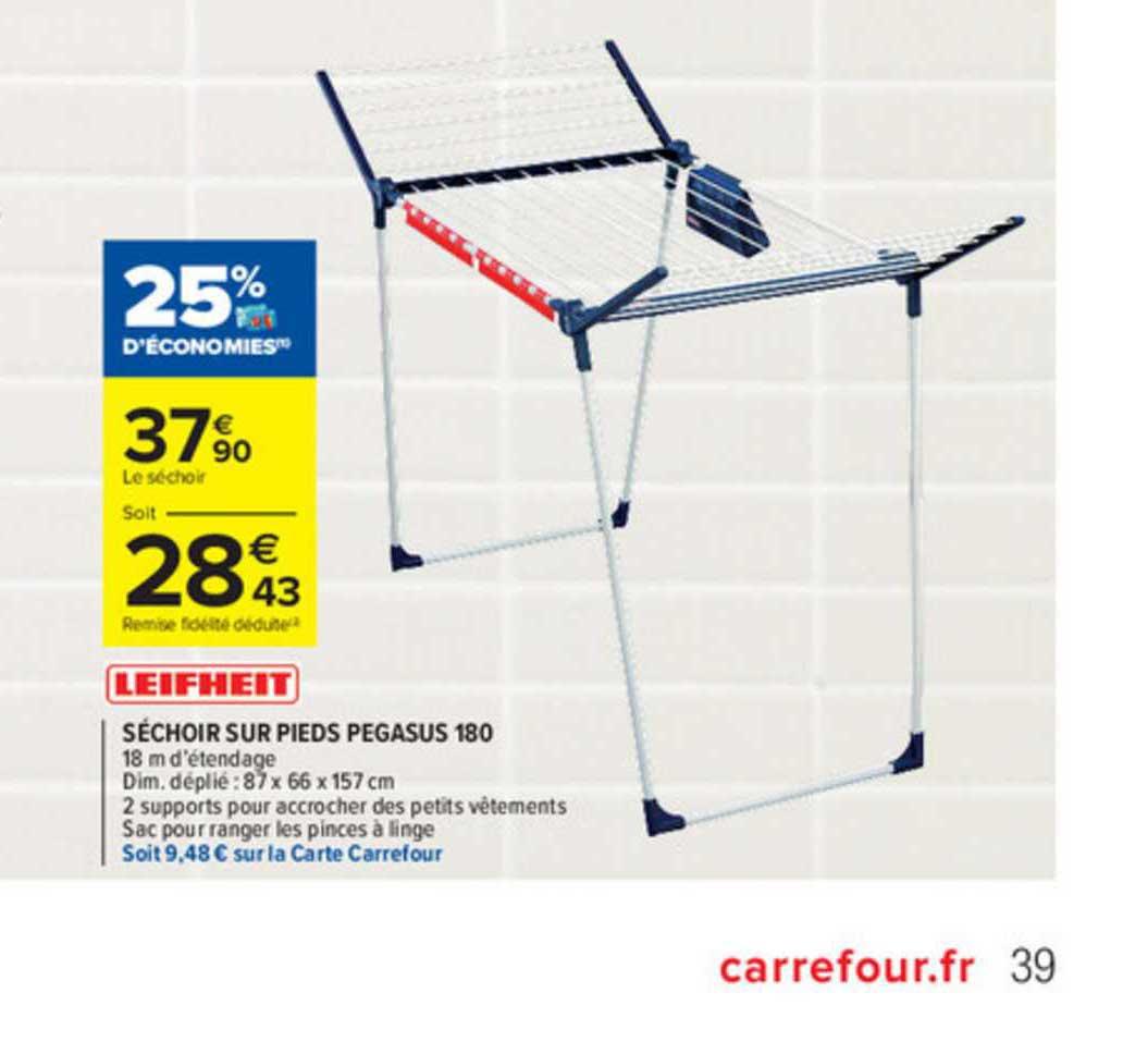 Offre Sechoir Sur Pieds Pegasus 180 Chez Carrefour Market