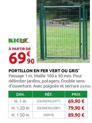 Offre Portillon En Fer Vert Ou Gris Kido Chez Rural Master