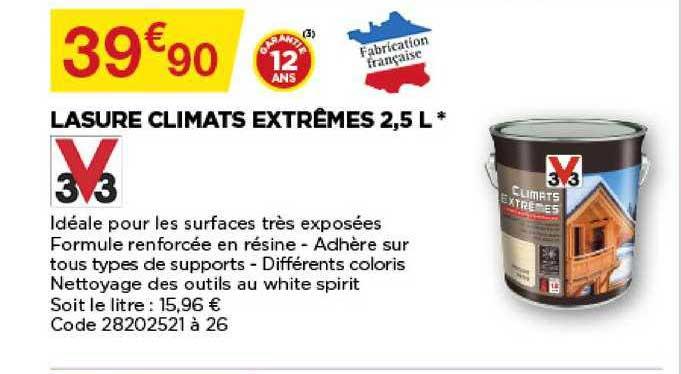 Offre Lasure Climats Extremes 2 5 L V33 Chez Bricomarche